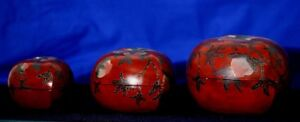 Mid 19th C. Set of 3 Lidded Stacking PEACH Lacquered Bowls