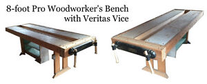 8-Foot Woodworking Bench with Veritas Vice