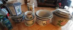 Vintage Ceramic Chinese Vases and Planter Pots /w Saucers