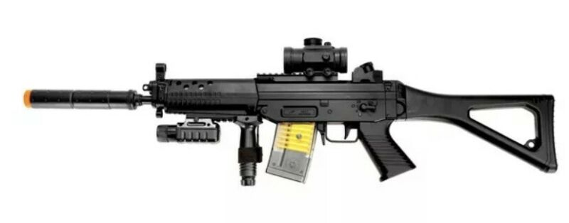 M82P Electric Sig 552 Rifle - Great Starter Gun With Light & Removeable Silence