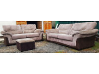 3 & 2 Seater Sofa + Footstool Beige/Brown. Can deliver locally