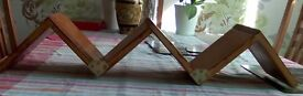 """Zig-zag shelving unit in pine. Three shelves size 6"""".To be fixed in an upright."""