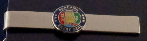 """State of Alabama Polished Silver Tie Bar AL 1/2"""" state seal police/fire/sheriff"""