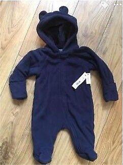 815bec3b9 BNWT baby boys navy fleece pramsuit   snowsuit size 0-3 months