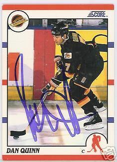 Dan Quinn Vancouver Canucks 1991 Score  Autographed Hockey Card Jsa