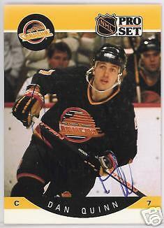 Dan Quinn Vancouver Canucks 1991 Pro Set  Autographed Hockey Card Jsa