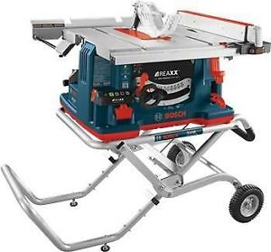 Scie à table de chantier Bosch REAXX™ de 10 po avec support sur roulettes Gravity-Rise™ - BOSCH GTS1041A-09