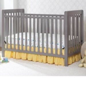 Waves Grey Convertible Crib  & Mattress