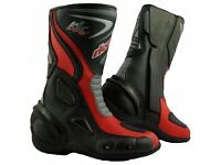 New Rk Sports LV14 Water Resistant Motorcycle Boots (Black,Blue,Red,)