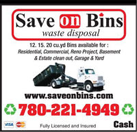 Save On Bins inc. 780-221-4949 Dumpster Bin Rental