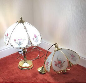 Matching Glass Lamp and Ceiling Light