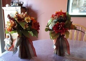 2 bouquets of fall flowers