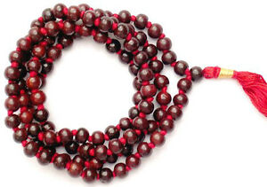 Rare Red Sandalwood Mala 108 + 1 Bead Hindu Japa Meditation Yoga Necklace Rosary