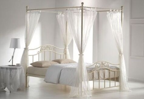Metal Silver 4 poster double bed with cream drapes | in ...