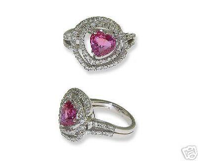 18k Wg Ladies Diamond Pink Sapphire Heart Ring