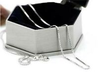 solid silver 1MM box chain necklace