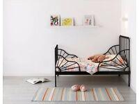 child/adult ikea black metal frame single bed with wooden slats
