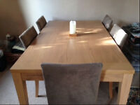 Dining table light wood and six chairs