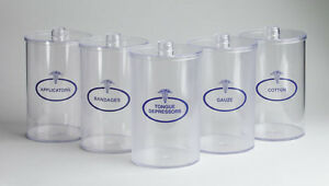 UNBREAKABLE Clear Plastic SUNDRY JARS SET 5 With Lids