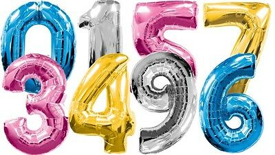 "FOIL NUMBERS 30"" LARGE HELIUM NUMBER BALLOON 0-9 IN MANY COLOURS!UK MANUFACTURED"