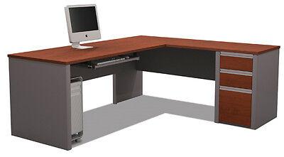 Bestar Connexion L Shape Office Desk W Keyboard Shelf In Bordeaux Slate