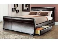 LUXURY 4 DRAWERS BLACK OR BROWN LEATHER STORAGE SLEIGH BED FRAME KING SIZE BARGAIN PRICE - RRP £399