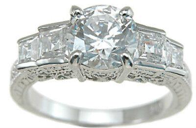 Designer Celebrity Engagement Ring Sterling Silver 2.25 Ct Platinum Fn Wedding ()