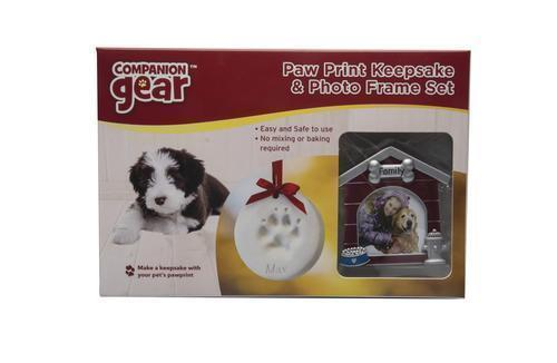 NEW - PAW PRINT KEEPSAKE & PHOTO FRAME SET, DOG CAT PET ORNAMENT PICTURE