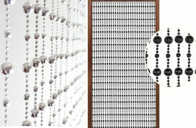 Ceiling Mounted Disco Ball (Stylish Beaded Round Door Modern Hanging Curtain Disco Balls Silver Black)
