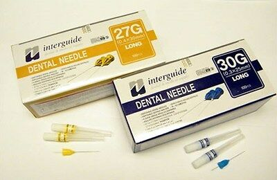 Dental Disposable Injection Needles 27g Long 0.4 X 30 Mm 100pk By Interguide