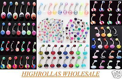 *110* WHOLESALE Body Jewelry Belly Naval Rings Lot 14g Piercings USA Seller