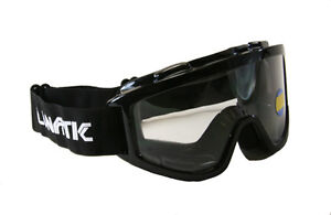 Lunatic Motocross Dirt Bike ATV MX Goggles Adult - Black - Single Lens