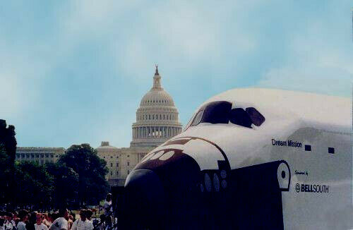 GIANT MOBILE 1/2 SCALE INTERACTIVE SPACE SHUTTLE EXHIBIT WITH TOW VEHICLE