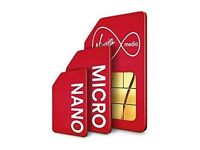Virgin Mobile pay as you go TRIO size Sim Card +Swipe Card (buy 1 get 1 free)