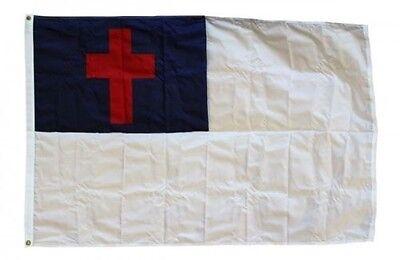 4x6 Embroidered Sewn Christian Cross Nylon 300D Flag 4'x6' Banner grommets