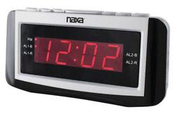 Naxa NRC-171 Digital Dual Alarm Clock AM/FM Radio Snooze & Large LED Display