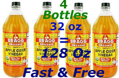 Bragg Organic Apple Cider Vinegar with Mother Raw Unfiltered 32oz X 4Pack=128 oz