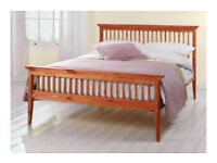 Double bed In Pine 4ft6 Double Bed Wooden Frame + Mattress: COLLECTION ONLY