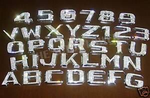 ICED OUT Emblem Chrome Letter Number Swarovski Crystal