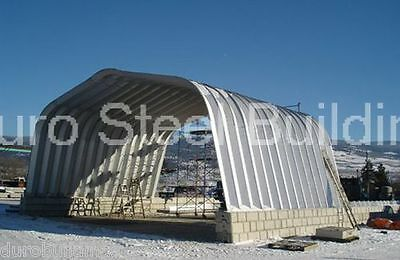 Durospan Steel 25x40x12 Metal Arch Building Carport Kit Open Ends Factory Direct