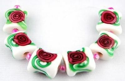 HANDMADE LAMPWORK GLASS BEADS Pillow White Pink Floral Loose Jewelry Craft