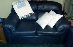 Navy Blue Leather Loveseat & Chair