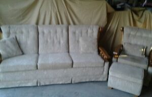 Roxton Maple Couch, Chair & Ottoman, newly upholstered