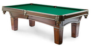 POOL TABLE ••• NEW Solid Wood Genuine Slate Leather Pockets Prince George British Columbia image 1
