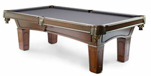 ◄Solid Wood Pool Table Leather Pockets Cues Balls