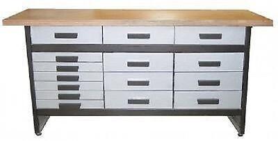 Werkbank WB 15 Werkstatt Hobbykeller 15 Schubladen mit Vollauszug robuster Stahl