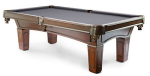 POOL TABLE ••• NEW Solid Wood Genuine Slate Leather Pockets Prince George British Columbia image 3