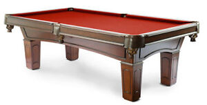 ◄Solid Wood Pool Table Leather Pockets Cues Balls Windsor Region Ontario image 3