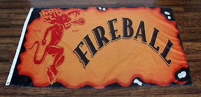 Fireball Cinnamon Whisky Flag Banner Red Devil Burnt Logo Whiskey Bar Liquor New