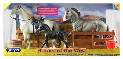 Breyer Heroes of the West Freedom Series Set 2 Horses & 1 Foal +Accessories NEW
